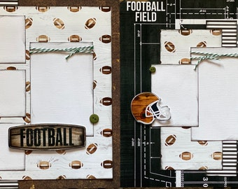 On The Field, Football 2 page Scrapbooking Layout Kit or Premade Scrapbooking Pages, Football DIY Craft Kit, Football Coach