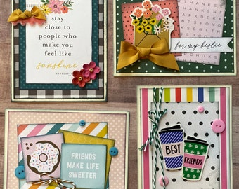 Friendship Themed Card Kit Set #1  - 4 pack DIY Card Kit bff Card Craft DIY