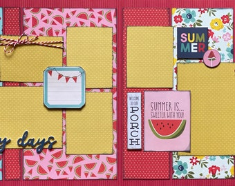 Lazy Days - Fun in the Sun 2 Page Summer Scrapbooking Layout Kit DIY or Premade Scrapbooking kit summer craft