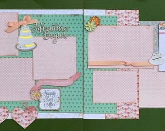 Adventure Begins, Happily Ever After Wedding  2 Page Scrapbooking Layout Kit or Premade Scrapbooking Pages wedding diy craft kit