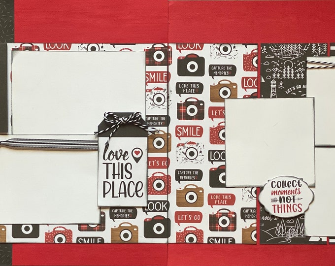 Featured listing image: Capture The Memories, Love This Place  2 page Scrapbooking Layout Kit or Premade Scrapbooking Pages,  diy craft kit Travel craft kit, diy