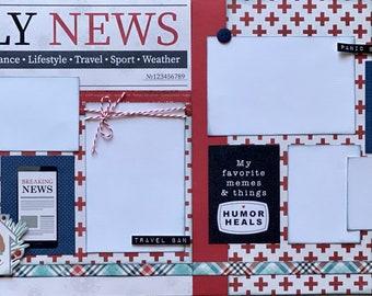 Daily News #stayhome Quarantine  2 Page Scrapbooking layout KIt