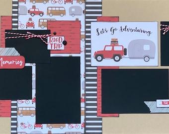 Making Memories - Let's Go Adventuring 2 page Scrapbooking Layout Kit or Premade Scrapbooking Pages,  diy craft kit Travel craft kit, diy