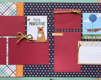 You're Pawsome!  Dog Scrapbooking 2 Page Scrapbooking Layout Kit or Premade  Pages Dog diy craft kit