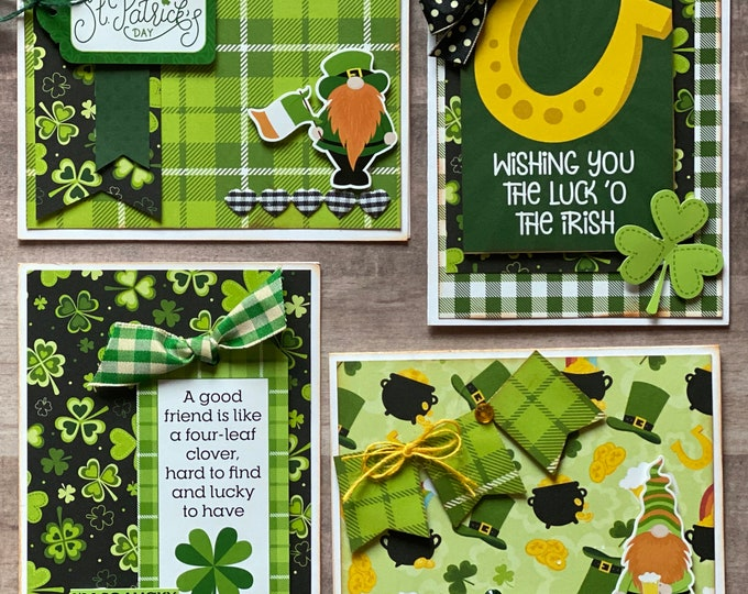 Featured listing image: Happy Shamrock Day  Themed Card Kit- 4 pack - DIY St Patricks Day Card Craft