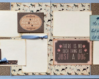 Dogs Leave Pawprints on Your Heart Scrapbooking 2 Page Scrapbooking Layout Kit or Premade Scrapbooking Pages