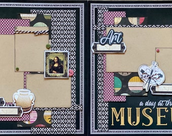 A Day At The Art Museum,  2 Page DIY Scrapbooking Layout Kit or Premade Scrapbooking Pages, DIY Museum Craft Kit, Mona Lisa Craft Kit DIY