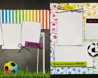 Soccer - Don't go through Life Without Goals  2 page Scrapbooking Layout Kit or Premade Scrapbooking Pages soccer diy craft kit