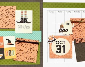 October Calendar Kit - 2 Page Scrapbooking Layout Kit DIY Calendar craft kit craft kits diy Calendar