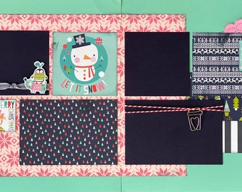 Let it Snow!  Merry Christmas 2 Page Scrapbooking Layout Kit or Premade Scrapbooking Pages