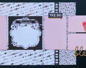 It Was Wonderful - Blessed - We Do - Wedding  2 Page Scrapbooking Layout Kit or Premade Scrapbooking Pages