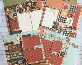 Top Shelf Kit Club October - 3 - 2 Page Scrapbooking Layout Kits -Simple Stories - Fall Farmhouse