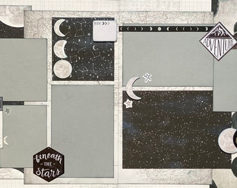Beneath the Stars - Star Gazer 2 page Scrapbooking Layout Kit or Premade Scrapbooking Pages