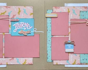 Journey - Let's Go!  Vacation 2 page Scrapbooking layout kit or Premade Scrapbooking Pages, DIY travel craft kit,  craft kit