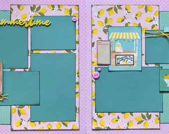 Summertime - Pink Lemonade  2 Page Summer Scrapbooking Layout Kit DIY or Premade Scrapbooking kit summer craft