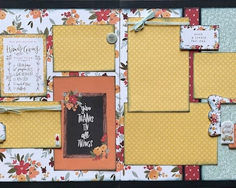 Give Thanks in All Things - Friendsgiving Thanksgiving Scrapbooking Page Kit or Premade Scrapbooking Pages thanksgiving diy craft kit