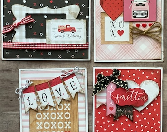 Special Delivery, Loads of Love  - Valentine Themed Card Kit- 4 pack DIY Valentine Card Making Kit Diy love craft