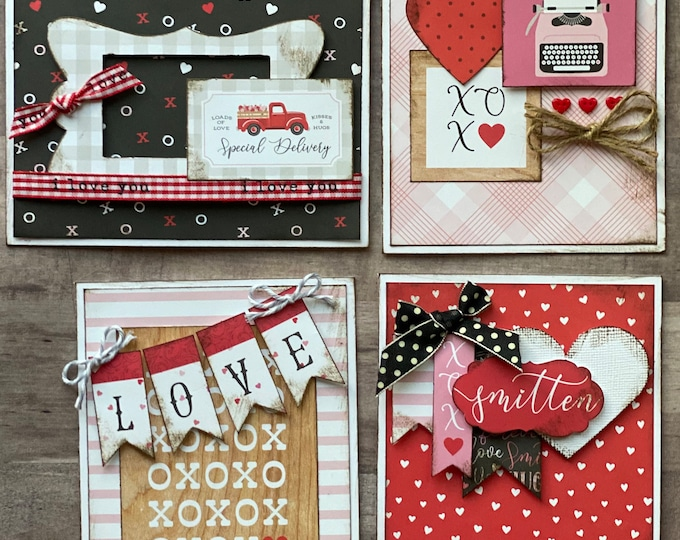 Featured listing image: Special Delivery, Loads of Love  - Valentine Themed Card Kit- 4 pack DIY Valentine Card Making Kit Diy love craft