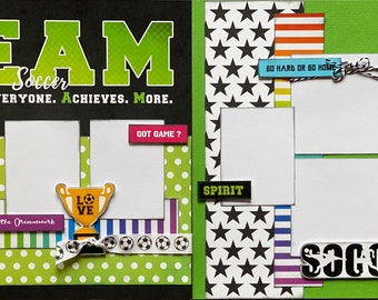 TEAM Soccer - Go Hard or Go Home 2 page Scrapbooking Layout Kit or Premade Scrapbooking Pages soccer diy craft kit