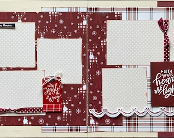 It's the Most Wonderful Time of the Year -  2 Page Scrapbooking Layout Kit or Premade Scrapbooking Pages Christmas diy craft kit