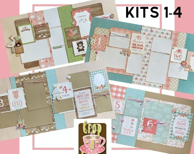 Featured listing image: Baby Girl  Month to Month Scrapbooking bundle, 8 -  2 page Scrapbooking Layout Kits, DIY Baby Girl Scrapbooking Craft Kit