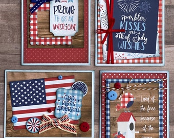 Americana Themed Card Kit- 4 pack DIY Card Kit Fourth of July DIY craft kit America diy craft kit