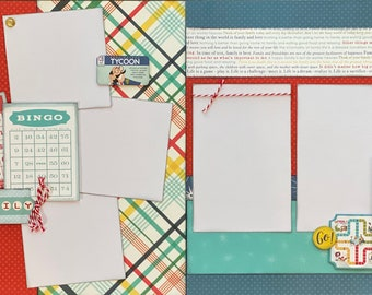 Game On!  Bingo!  2 Page Scrapbooking Layout Kit or Premade pages