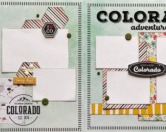 Colorado Adventure Colorado Themed 2 Page Scrapbooking Layout Kit or Pre Made Scrapbooking Pages Colorado DIY craft kit