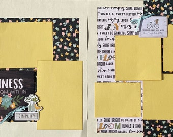 Happiness Blooms from Within  - The Greatest Moments in Life are the Simplest 2 Page Scrapbooking Layout Kit or Premade Scrapbooking Pages