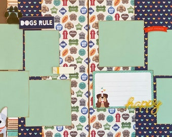 Woof!  Dogs Rule 2 Page Scrapbooking Layout Kit or Premade Scrapbooking Pages