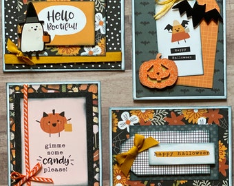 Hey Bootiful Halloween Themed Card Kit Set   - 4 pack DIY Card Kit Halloween Card Craft DIY