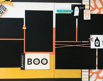 Boo to You!  Be Spooky-Halloween 2 Page Scrapbooking Layout Kit or Premade Scrapbooking Pages