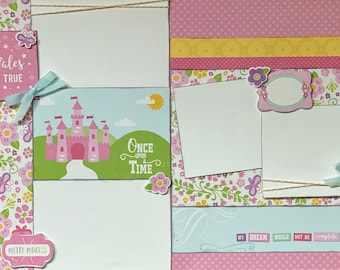 Fairy Tales Do Come True - Pretty Princess 2 page Scrapbooking layout kit or Premade Scrapbooking Pages Prrincess DIY craft kit