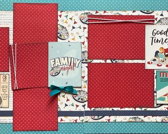 Family Night - Game On!  2 Page Scrapbooking Layout Kit or Premade pages
