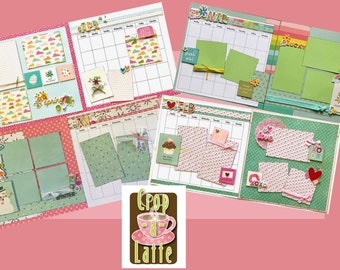 12 Pack Calendar Bundle - January thru December 2 page layout bundle Calendar DIY Craft Kit