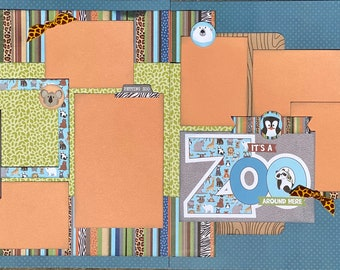 Adventure - It's a Zoo Around Here  2 Page Scrapbooking Layout Kit or Premade Pages Zoo scrapbook diy craft kit Zoo craft kit