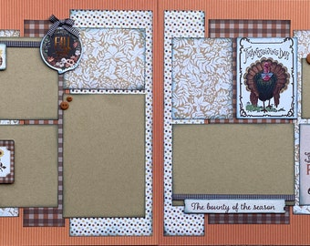 Let Your Heart Be Grateful Thanksgiving Scrapbooking Page Kit or Premade Scrapbooking Pages thanksgiving diy craft kit