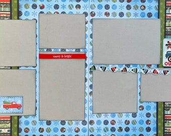 Our Adventures - Merry and Bright 2 Page Scrapbooking Layout Kit or Premade Scrapbooking Pages