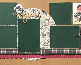 Winter Song - Magical 2 page Scrapbooking Layout Kit or Premade Scrapbooking Pages