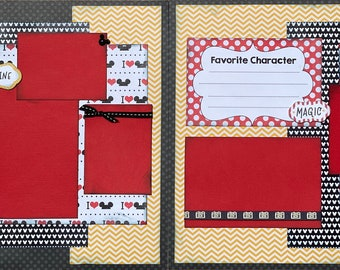 Favorite Character - Imagine Disney Inspired 2 page Scrapbooking layout Kit or Premade Scrapbooking Pages DIY craft kit Disney inspired