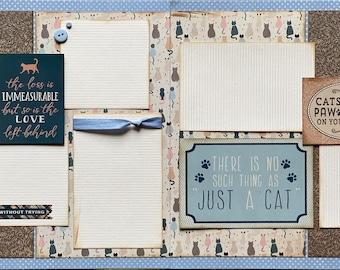 Cats Leave Pawprints on Your Heart Scrapbooking 2 Page Scrapbooking Layout Kit or Premade Scrapbooking Pages