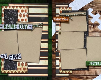 Game Day - Football 2 page Scrapbooking Layout Kit or Premade Scrapbooking Pages, Football DIY Craft Kit, Football Coach