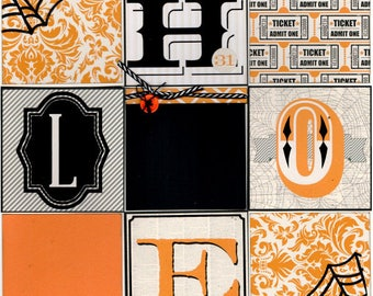 Halloween Scrapbooking kit, 2 pages - spider