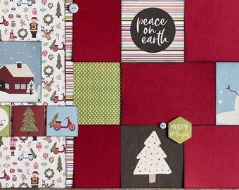 Here Comes Santa Claus - Christmas 2 Page Scrapbooking Layout Kit or Premade Scrapbooking Pages