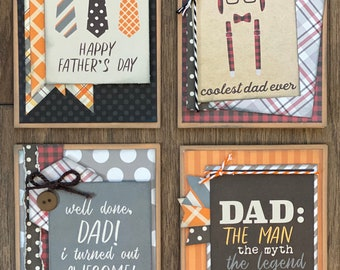 Father's Day  - Masculine Themed Greeting Card DIY Kit Set #1 - 4 pack