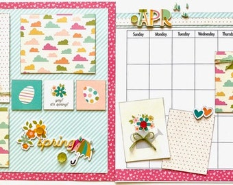 April Calendar Kit - 2 Page Scrapbooking Layout Kit