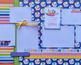Best Summer Ever - Every Day is One Step Closer to Summer 2 Page Summer Scrapbooking Layout Kit DIY or Premade Scrapbooking Pages