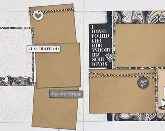 Love I have Found the One Whom My Soul Loves 2 Page Scrapbooking Layout Kit or Premade Scrapbooking Pages wedding diy craft kit