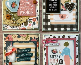 Coffee  Themed Card Kit Set #1  - 4 pack DIY Card Kit Coffee Card Craft DIY
