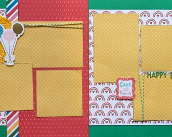 Free Cake - Happy Birthday 2 Page Scrapbooking layout KIt or Premade Scrapbooking Pages Birthday diy craft kit